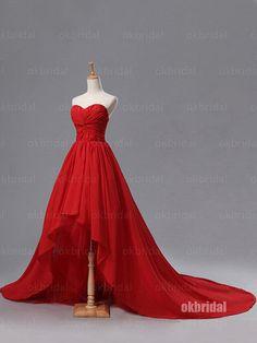 high low prom dress, red prom dress, chiffon prom dress, 2016 prom dress, best…
