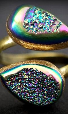 Double Druzy Teardrop & Bronze Wrap Ring
