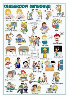 Classroom Language Picture Dictionary worksheet - Free ESL printable worksheets made by teachers English Classroom, Classroom Language, Classroom Rules, In The Classroom, Classroom Commands, Apple Classroom, English Vocabulary, English Grammar, English Language