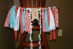 Dr. Seuss Inspired High Chair Fabric Banner - First Birthday - Red and Blue Rag Tie Garland - Cake Table Decorations - Photo Props -Backdrop