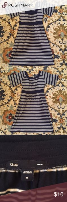 """Gap Navy Stripped Dress In Good Condition, but has wear! Bust: 16"""" Length: 38"""" GAP Dresses"""