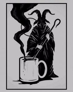 I like my coffee how I like my magic. I always had an interest in black magic and how it can manipulate time, fate and bend the rules of science and its deep and dark. I like the unknown. Wiccan, Magick, Witchcraft, Satanic Art, Satanic Tattoos, Kunst Tattoos, Arte Obscura, Baphomet, Arte Horror