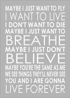 Oasis Live For Ever Lyrics Wedding Couples Word Wall Art Typography Words Print