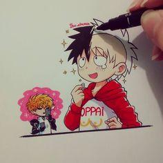 Saitama se ve tan feliz con su pelo nuevo~  Lástima que luego de eso se puso a llover y se le corrió toda la tinta de la cabeza X'3(? Si, me