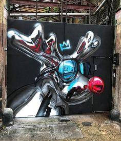 Rudolf the rednose reindeer modern version by Fanakapan in Hackney, London Street Art London, Best Street Art, Graffiti Wall Art, Street Art Graffiti, Mural Painting, Mural Art, Spray Can Art, Steampunk, Arte Popular