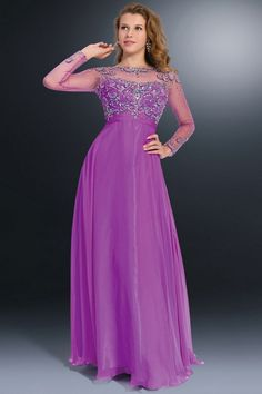 Fashionable Crystals Zipper Purple Sexy Chiffon Prom Dresses With Sleeves