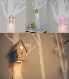 Vogelhuislampjes, leuk idee voor in een kinderkamer.