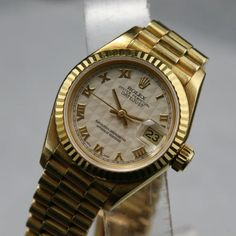 1991 ROLEX LADIES 26mm  18K. SAPPHIRE CRYSTAL QUICK SET AUTOMATIC Cal 2135 WITH 8570F 18K SOLID GOLD HIDDEN CLASP BRACELET TO FIT 165-170mm WRIST. 100% authentic.