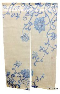T-Trove Blue Lotus Blossom White Noren Curtain Doorway Curtain, Door Curtains, White Lotus, Blue Lotus, Noren Curtains, Zen Space, White Curtains, Curtain Designs, Washing Clothes