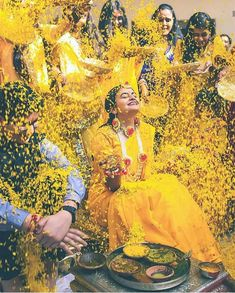 Flowers of Happiness with Haldi vibes ! Indian Wedding Photography Poses, Bride Photography, Pre Wedding Photoshoot, Wedding Poses, Indian Bridal Photos, Bride Poses, Like4like, Haldi Ceremony, Sabyasachi
