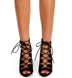 Pre-Order: Black Lace Up Gladiator Heels