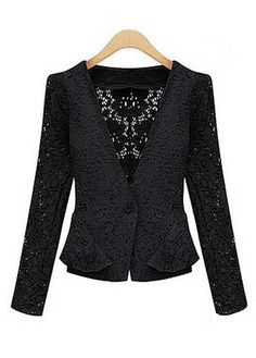 Pretty One Button Fly Design Long Sleeve Jackets Black | Rosewe.com