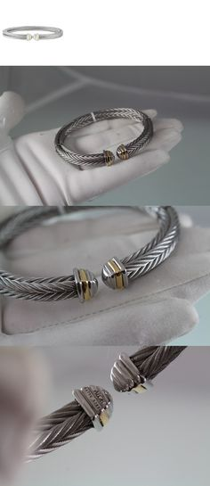 Other Fine Bracelets 3839: New Alor Mens 18K White Gold And Stainless Steel Cable Bracelet BUY IT NOW ONLY: $195.0
