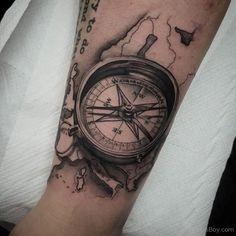 Grey-Ink-Realistic-Compass-Tattoo-On-Forearm.jpg (768×768)