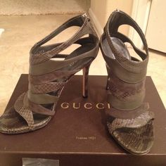 "Selling this ""Green Gucci Snakeskin Sandal heels"" in my Poshmark closet! My username is: claudia_csn. #shopmycloset #poshmark #fashion #shopping #style #forsale #Gucci #Shoes"