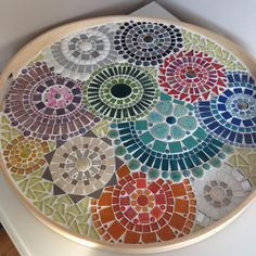 Round tray with glass mosaics