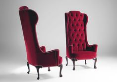 ... Attractive Classic Style Red Upholstery Velvet Armchair Eva Mantellassi With Long Tufted Backrest And Dark Small ...