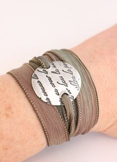 French Script Fine Silver Silk Ribbon Wrap Bracelet Precious Metal Clay Bracelet Romantic French Writing Earth Tones Khaki, Sage.