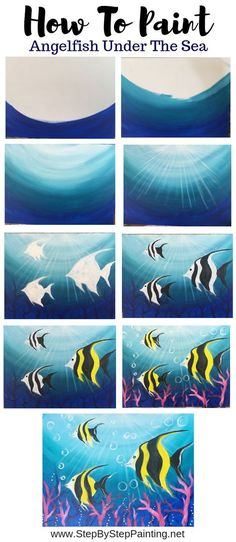 Underwater Painting - Step By Step Acrylic Tutorial - With Pictures - Underwater Painting – Step By Step Acrylic Tutorial – With Pictures How To Paint Under The Sea – Step By Step Painting Acrylic Painting Tutorials, Diy Painting, Painting & Drawing, Acrylic Art, Painting Lessons, Painting Techniques, Art Lessons, Kunst Picasso, Picasso Art