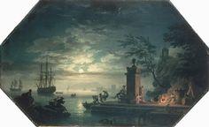 Les Quatre parties du jour: La Nuit ou le Clair de Lune by Claude Joseph Vernet