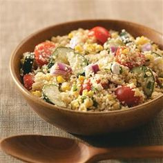 Summer Garden Couscous Salad Recipe -This salad makes the most of summer's bounty. I used to prepare it with a mayonnaise dressing, but lightened it with lemon vinaigrette. It's even better now! —Priscilla Yee, Concord, California