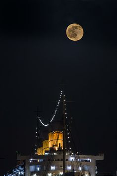 Title Queen Mary Stacks And The Moon By Denise Dube Artist Denise Dube Medium Photograph - Photography, Fine Art Moon Photography, Photography For Sale, Landscape Photography, Travel Photography, Friday The 13th Moon, Art Prints For Sale, Fine Art Prints, Long Beach California, Queen Mary