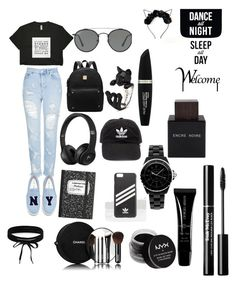"""""""black"""" by anisiabt on Polyvore featuring beauty, Topshop, Joshua's, Boohoo, adidas, Ray-Ban, Max Factor, Chanel, NYX and Armani Beauty"""