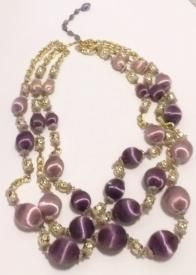 Hobe Necklace Earrings Vintage Demiparure Gold Beads Rhinestones - Wow! You need to peek!