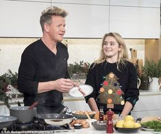 Star family: Gordon Ramsay was joined by his youngest daughter Tilly as they appeared on This Morning on Thursday to whip up a Christmas day breakfast feast Matilda Ramsay, The Ramseys, Chef Gordon Ramsay, Gordon Ramsey, Christmas Breakfast, Chef Recipes, Food Design, Trump Funny, Star Family