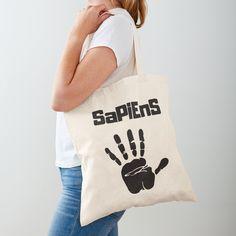 'Homo Sapiens Handprint white' Tote Bag by RIVEofficial Printed Tote Bags, Cotton Tote Bags, Reusable Tote Bags, White Tote Bag, My Portfolio, Chiffon Tops, Invite, Shopping Bag, Digital Prints