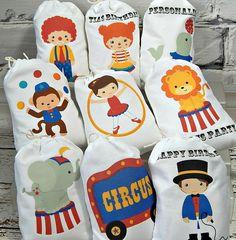 "Circo cumpleaños Favor bolsas para golosinas o regalos que va al circo personalizado 5 ""x 7"" 8 Qty"