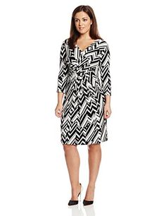 d32ce0f16d637 Anne Klein Women s Plus-Size 3 4 Sleeve Printed Overlap Dress