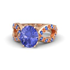 Oval Tanzanite 14K Rose Gold Ring with Sapphire & Fire Opal - Counterpoint Ring | Gemvara