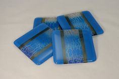 Fused Glass Coasters, Blue and Grey Crackle  (Quantity 4)