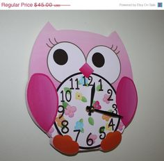 SALE Pink Love Owl Wooden WALL CLOCK for Girls by ToadAndLily, $36.00