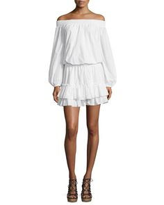 TC1W2 Elizabeth and James Kenji Off-The-Shoulder Blouson Dress, White