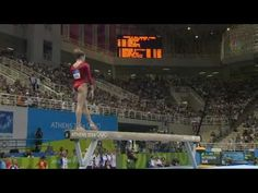 """Carly Patterson's Beam Routine in 2004 Athens Olympics- first person to ever do a double arabian dismount and is now called """"The Patterson."""""""