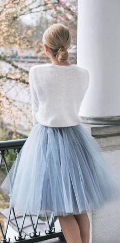 #Blue #skirt, white blouse. #Style #Fashion