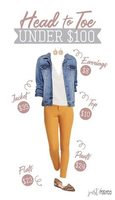 Fashion Look Featuring Universal Thread Earrings and Universal Thread Denim Jackets by justposted - ShopStyle Casual Work Outfits, Business Casual Outfits, Professional Outfits, Jean Outfits, Trendy Outfits, Cute Outfits, Classy Outfits, Mustard Jeans Outfit, Yellow Jeans Outfit