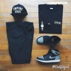 Today's top #outfitgrid is by @timothykoh_. #SSUR #Hat, #IloveUgly #Pants, #Supreme #Tee, #Jordan1, #BottegaVeneta #Bracelet #flatlay #flatlayapp #flatlays @flatlayapp