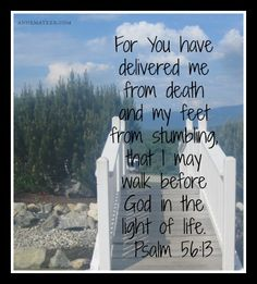 Psalm 56:13 (KJV) ~~ For thou hast delivered my soul from death: wilt not thou deliver my feet from falling, that I may walk before God in the light of the living?