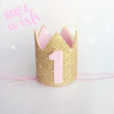 *** Please take the time to read before purchasing***    -You are purchasing the light pink and gold birthday crown featured on light pink skinny
