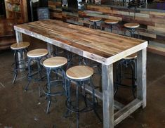 reclaimed wood bar restaurant counter community rustic custom kitchen coffee conference office meeting table hightop high top tables, wood chair bar dining rooms - Wood bar table, Bar dining table, Re - Patio Bar Set, Pub Table Sets, Dining Tables, Round Dining, Dining Rooms, Dining Set, Console Table, Bistro Tables, Couch Table