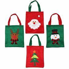 4 Mixed Christmas Xmas Soft Felt Present Gift Bags - Santa Rudolf Snowman Tree Felt Gifts, Paper Gifts, Small Gift Bags, Small Gifts, Baby Shower Gift Bags, Christmas Material, Christmas Gift Bags, Christmas Crafts, Snowman Tree
