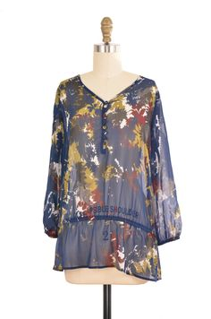 Liz Claiborne Blue Print Boho Blouse Size M | ClosetDash #boho #blouse #fashion #style