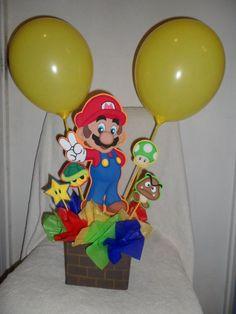 Pic only Mario centerpiece Super Mario Party, Super Mario Bros, Bolo Super Mario, Mario Bros Cake, Super Mario Birthday, Mario Birthday Party, Mario Und Luigi, Mario Bros., Galaxy Party