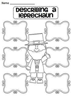 Describing a leprechaun adjectives or descriptive writing practice