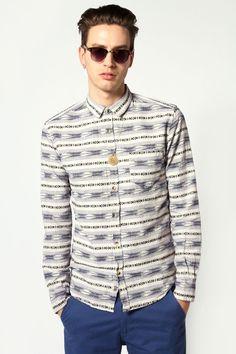 long Sleeve IKAT Print Shirt at boohoo.com