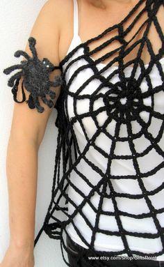 Gothic Dress Black Spider Web Top