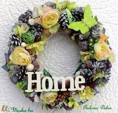 Pasztell kopogtató nagy méret (28 cm)  (pinkrose) - Meska.hu Floral Wreath, Wreaths, Diy, Home Decor, Bricolage, Room Decor, Do It Yourself, Garlands